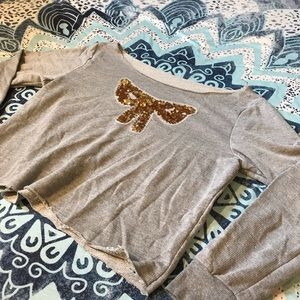 Sequin bow pullover